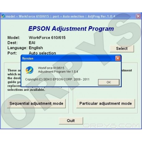 Epson WorkForce 610, 615 Adjustment Program